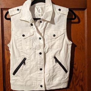 Forever21 white denim vest with black zippers